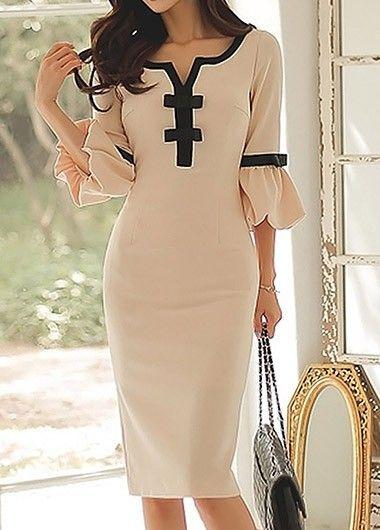 Split Neck Bowknot Embellished Flare Sleeve Beige Dress on sale only US$33.95 now, buy cheap Split Neck Bowknot Embellished Flare Sleeve Beige Dress at liligal.com