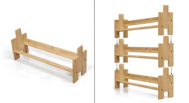 The distinctive Dewey units can be stacked together to create bookcases of varying heights