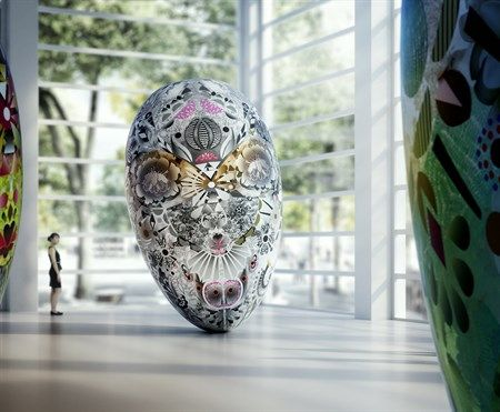 The Eurasian Garden Spirits is a site-specific installation by Marcel Wanders for the Oita Prefectural Art Museum, a building by Shigeru Ban due to open April 24th 2015.