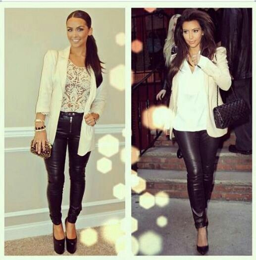 Lace top creme blazer and black leather pants. To die for fall date night outfit | Closet ...