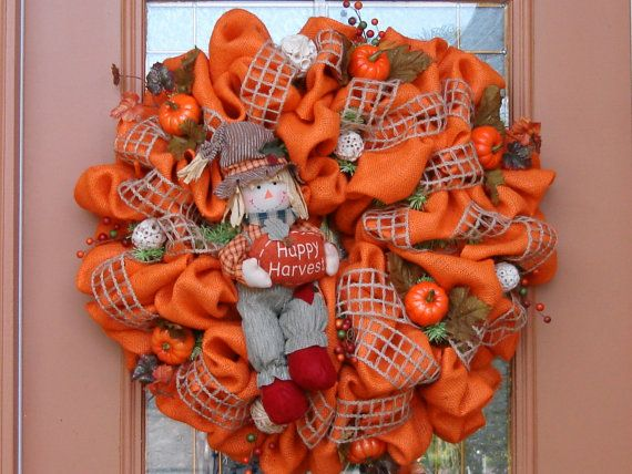 Fall Burlap Wreath | Natural ORANGE BURLAP FALL Wreath by DecoDzigns on Etsy