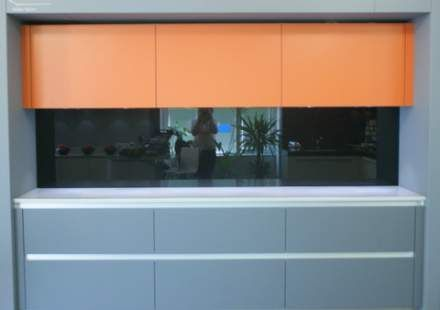 Burnt Orange Kitchens | Ex Display Burnt Orange and Grey Silk Handless Mereway Kitchen and ...