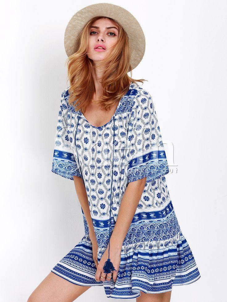 Blue Half Sleeve Tribal Print Dress | She In $16.99