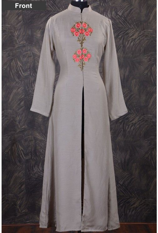 Straight Cut Kurti-Light Grey-Resham thread Work-WKR1059