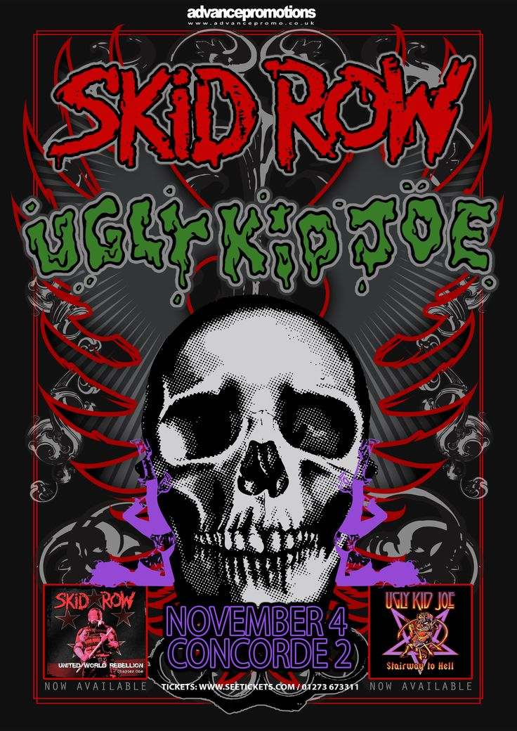 SKID ROW and UGLY KID JOE will be embarking on a 29 city, 12 country co-headline tour of Europe and the UK and will be LIVE at Concorde2 on MON 4TH NOV!. Each band will play a full set of the songs that the fans want to hear, but the bad news is this show is now SOLD OUT so if you haven't got tickets - bad luck!
