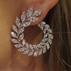 Details about 14k White Gold Cuff Earrings made w/ Swarovski Crystal Clear Bling Stone Trendy