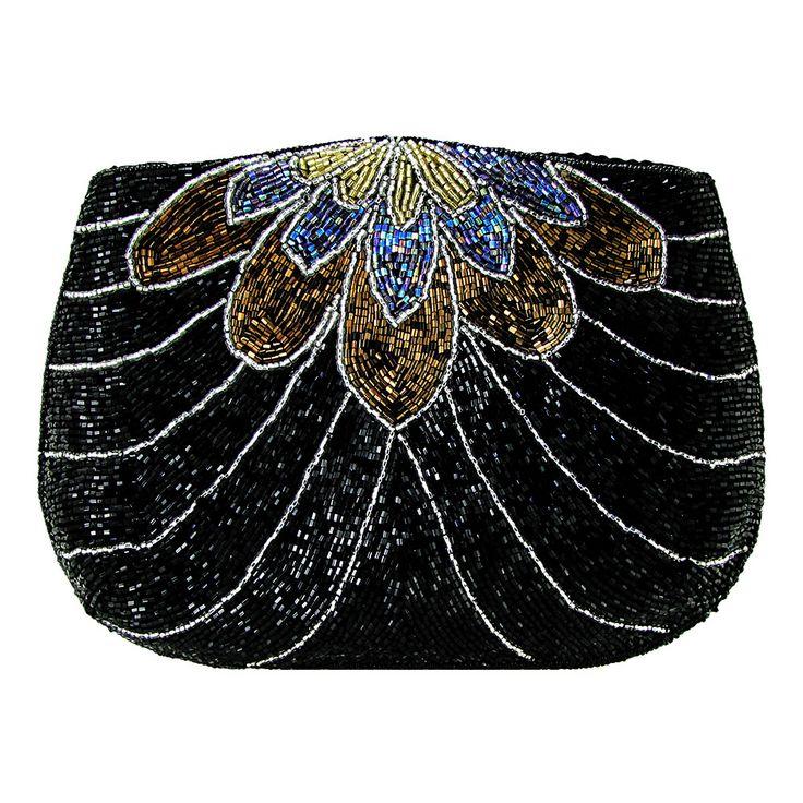 On The Fringe Art-Deco Beaded Evening Clutch Handbag IKI-22