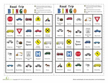 Worksheets: In-The-Car Bingo (must sign up to access - free...it says)