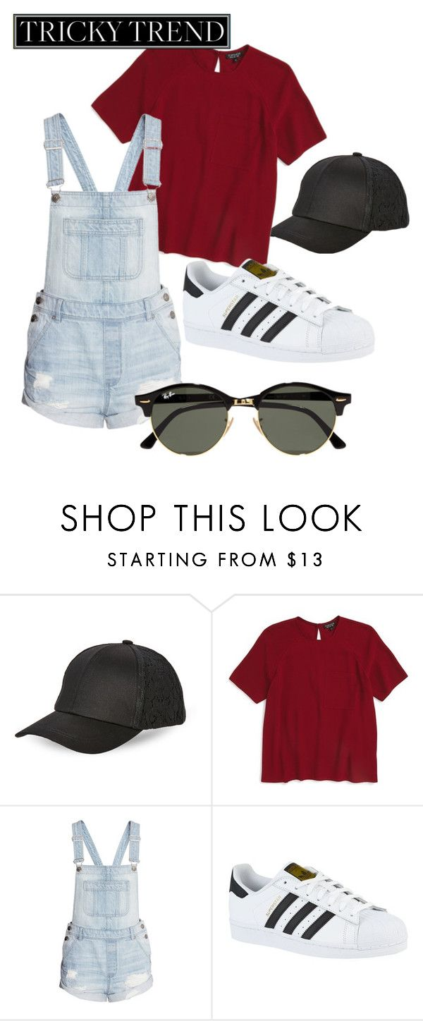 """""""Untitled #28"""" by steph11nicole on Polyvore featuring BCBGeneration, Topshop, H&M, adidas, Ray-Ban, TrickyTrend and overalls"""