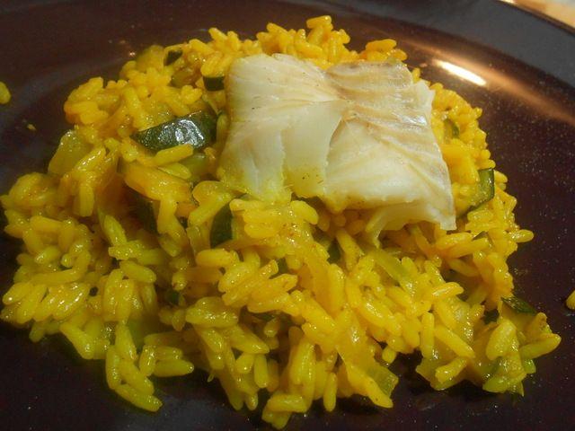 Dos de cabillaud & riz courgette-curcuma au Cookéo