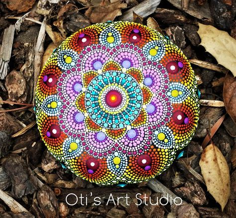 Mandala Stone- Hand Painted This precious stone was created with much love and joy. The mandala stones have in them many hours of joyful work and prayer for the owner to feel the vibration of joy, happiness and worth of our beautiful Universe. Size: 8.5cm.in diameter/ 3.35inch. The stone as this is the best canvas to paint and express my love for color and my gratitude to Mother Earth. Stone hand painted mandalas must be handled with care and they are not suitable for children, The pi...