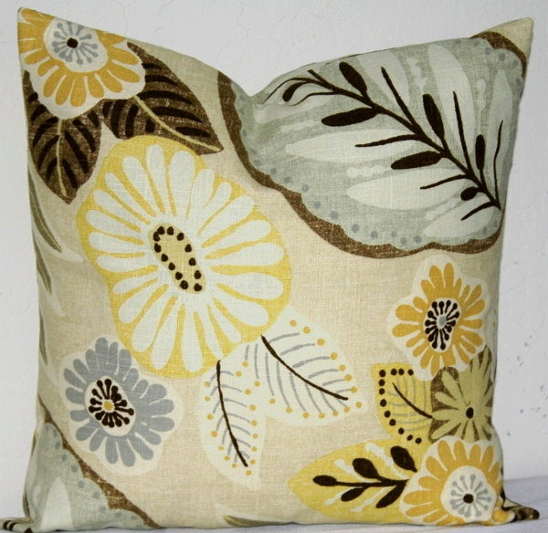 Brown Beige Yellow And Grey Decor Pillows Yellow And