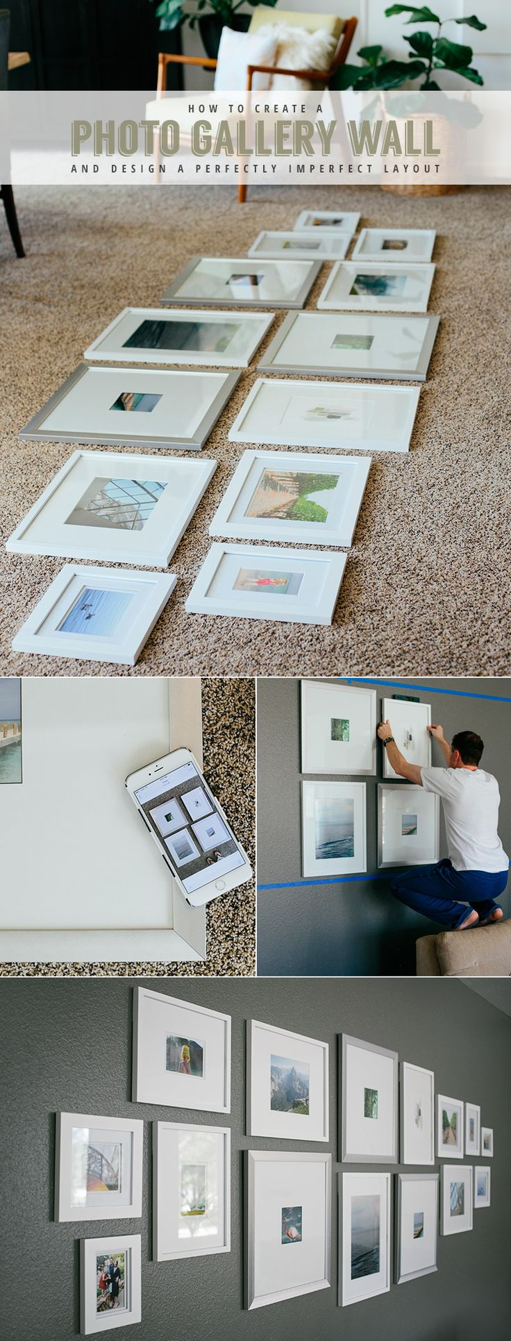 How to design a photo gallery wall with everything you need to know to achieve an asymmetrical but balance layout.