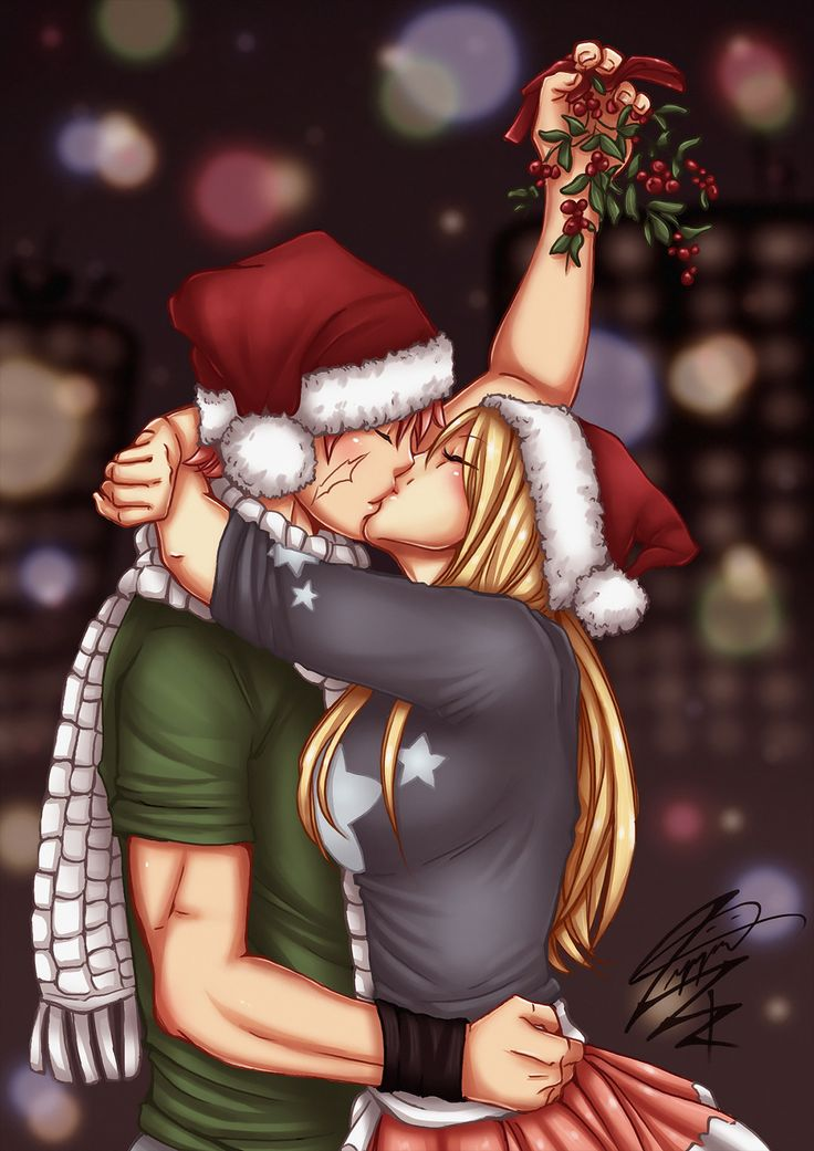 Art by zippi44 | Fairy Christmas | Natsu Dragneel and Lucy Heartfilia || Fairy Tail