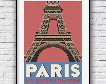 Paris Wall Art, Paris Print, Travel Poster, Retro Poster, Paris Poster, Eiffel Tower Print, Vintage Poster, Paris Decor, Travel Print