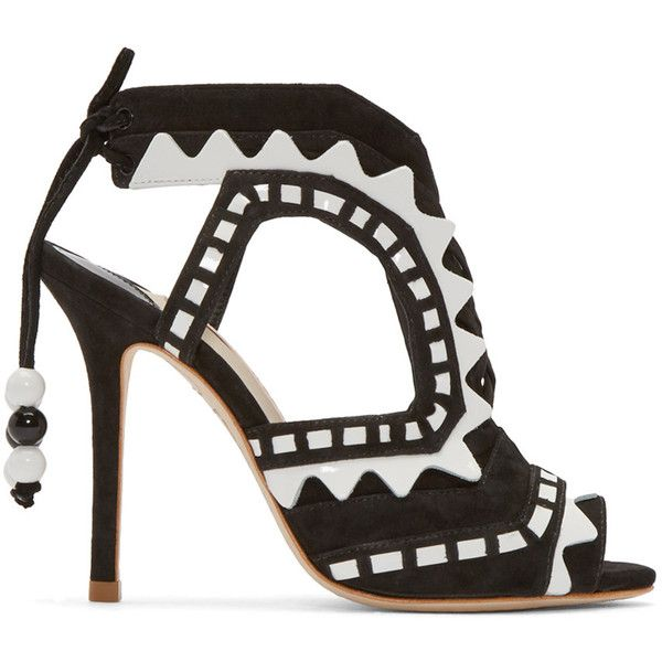 Sophia Webster Black and White Suede Riko Sandals ($670) ❤ liked on Polyvore featuring shoes, sandals, heels, black, high heels stilettos, suede sandals, heeled sandals, black suede shoes and peep toe sandals