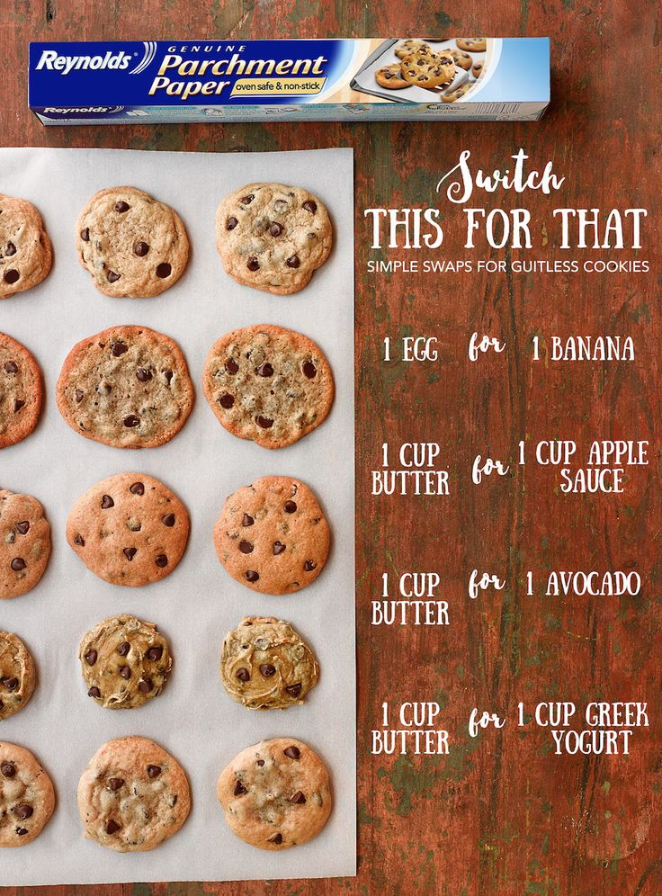 We get it. Sticking to New Year's Resolutions is tough, but there's no reason to quit the sweets! Instead, here are some great ingredient swaps to make your chocolate chip cookies a bit more guilt-free. Plus, use pre-cut Reynolds Cookie Baking Sheets for easy baking and cleanup. Not only do your cookies bake evenly, they slide off the sheet with ease!