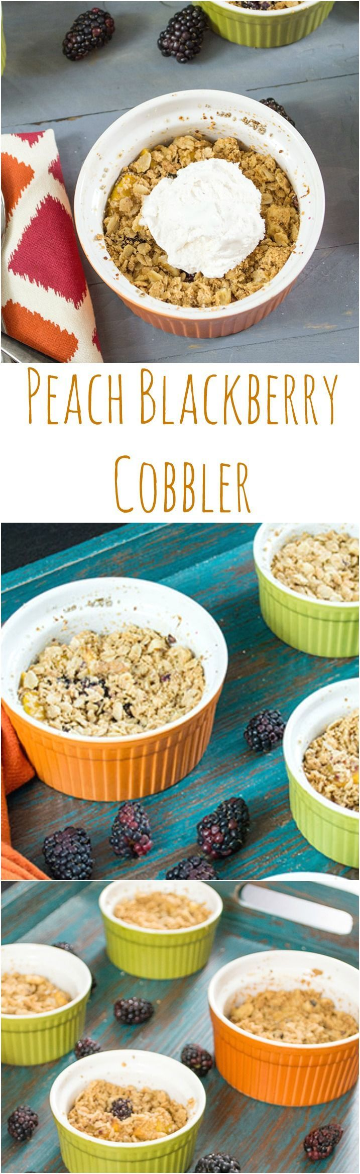 Blackberry Peach Cobbler Recipe  This healthy peach cobbler is easy to make and so delicious! Perfect dessert that's simple to make. No butter! Vegan, gluten free, healthy recipe.