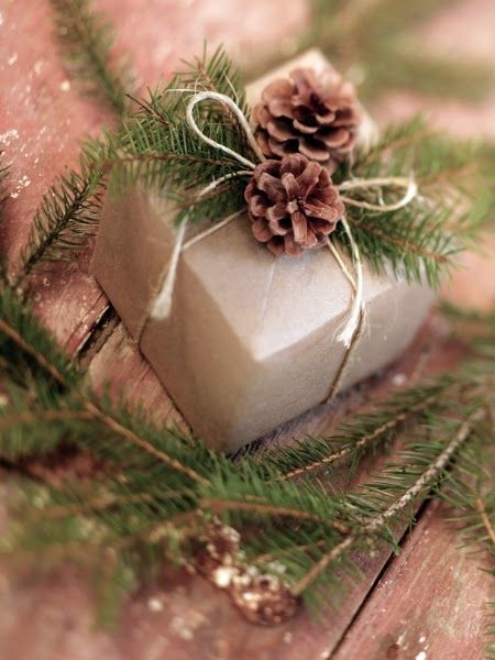 The Enchanted Home features a plain brown box trimmed with simple string and sprigs of greenery and pinecones!!! Bebe'!!! Love the simplicity of this gift wrap!!!
