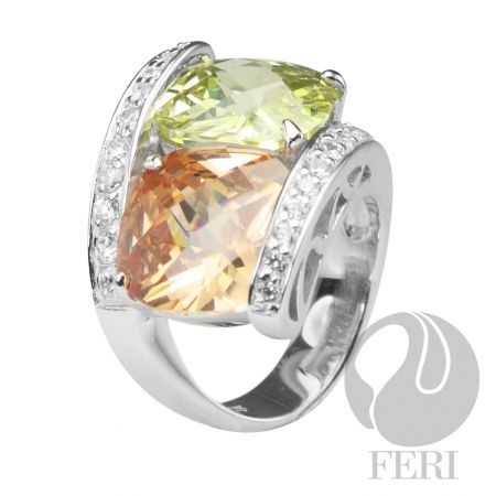 FERI pendant  sterling silver 0.5 natural rhodium coating, coloured AAA cubic zirconia