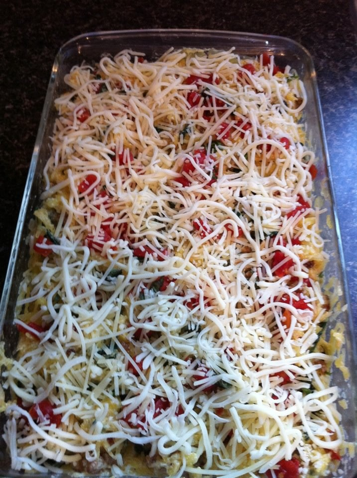 Spaghetti Squash Casserole:   1 spaghetti squash 'squashed',  2 Italian turkey sausage browned~   add to sausage any of the following per taste: chopped onion, mushrooms, red bell pepper,celery, artichoke   4 cup rough chopped fresh spinach, add to 'spaghetti' 8 oz ricotta cheese, large handful parmesan cheese   mix all together in 9x13 pan, add drained tomato pieces (or fresh or rotel) and top with parmesan and mozzerella cheese   put in oven 350 till cheese melted (about20 min)