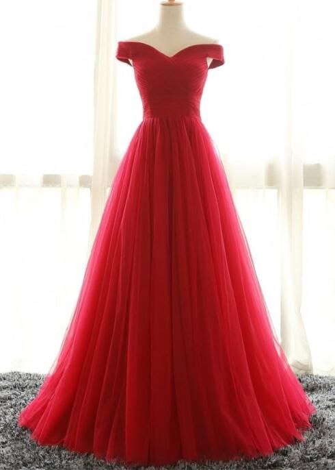 Off the Shoulder Red Prom Dress,Elegant Wedding Party Dress,Long Tulle Prom Dress,Formal Dress for Women
