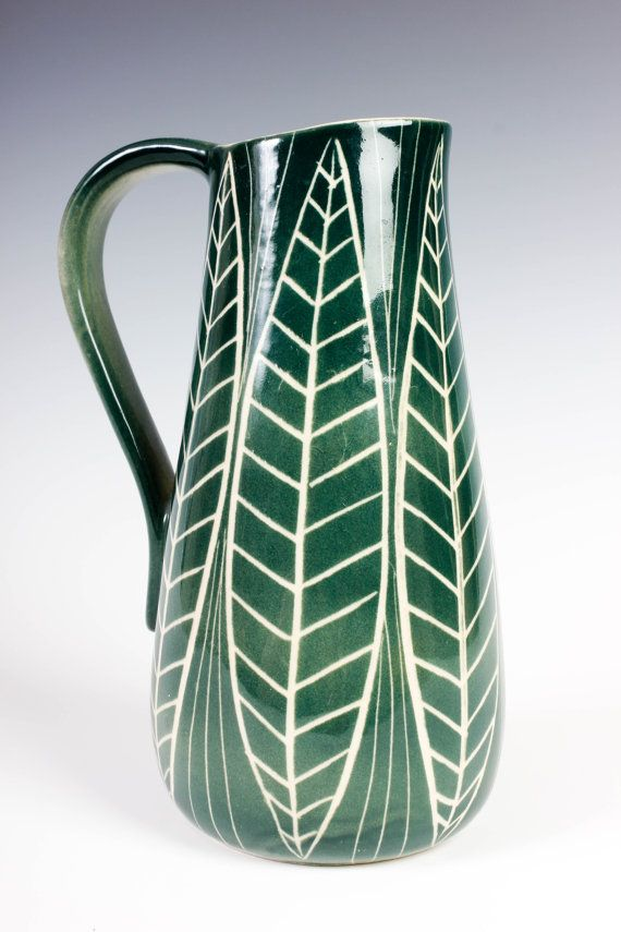 Arabia Finland Kaj Franck Handled Pitcher - Early Design - Green Leaf Jug