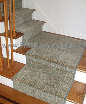 Stair Runner Installed With A Custom Fabricated Landing Creating A  Continuous Installation On The Staircase.
