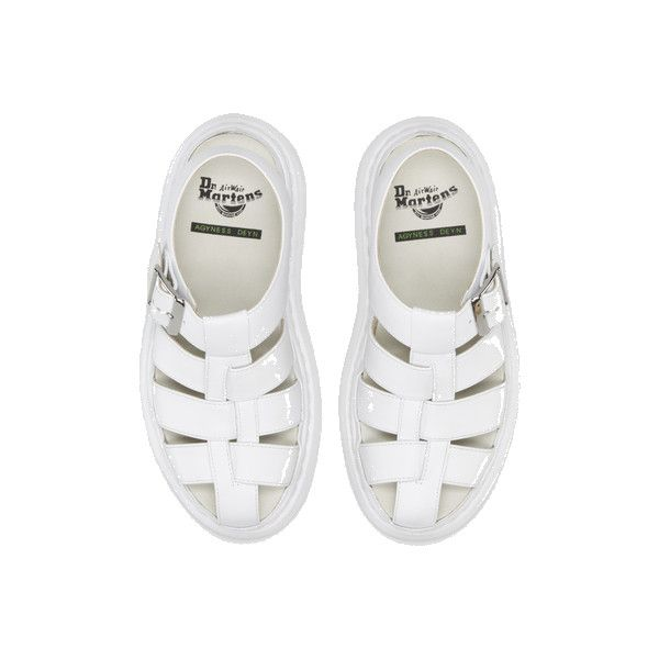 Dr. Martens Official UK Shop - Dr Martens Aggy I Sandal (195 CAD) ❤ liked on Polyvore featuring shoes, sandals, white, footwear, white shoes, dr. martens, dr martens shoes, dr martens footwear and white sandals