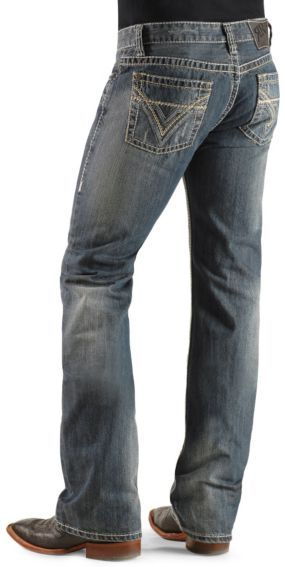 Rock & Roll Cowboy Double Barrel Pistol Bean Stitched Slim Fit Boot Cut Jeans - Sheplers