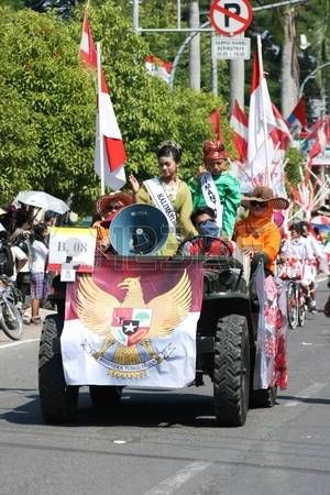 participants people and kids in the annual national carnaval in Blora, Indonesia , The main events and activities made in the inner towns and cities every Each year