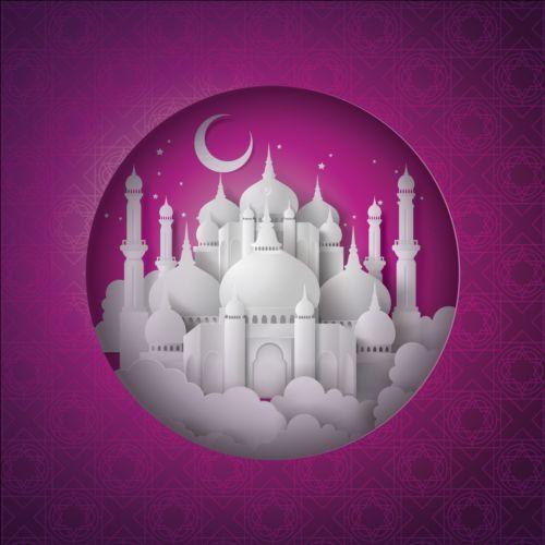 White mosque with purple ramadan kareem background vector 01