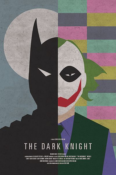 This is a great example of how modern media uses old styles within media. Here, we have an advertisement for a movie released in the last few years called The Dark Knight (based around Batman); that is being displayed using a 70's retro stylized theme. --- wordpress.com - 2014