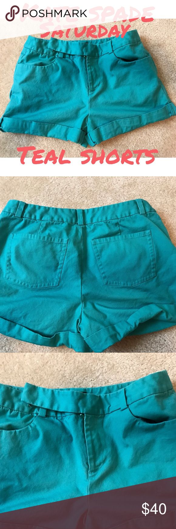 Kate Spade ♠️ Saturday teal shorts Kate Spade ♠️Saturday teal shorts with cuffs at bottom with 2 pockets in front and 2 in back...EUC.. about 15 in flat at waist..about 6 in rise..about 6.5 in inseam (about 5 in to top of cuff) (1/2/18) kate spade Shorts