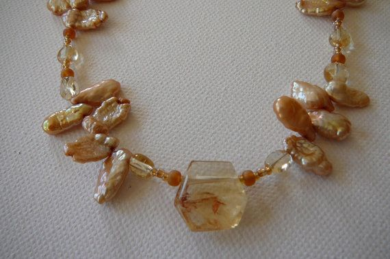 Keisha Pearl Necklace Semi precious stone by KarsJewellery on Etsy