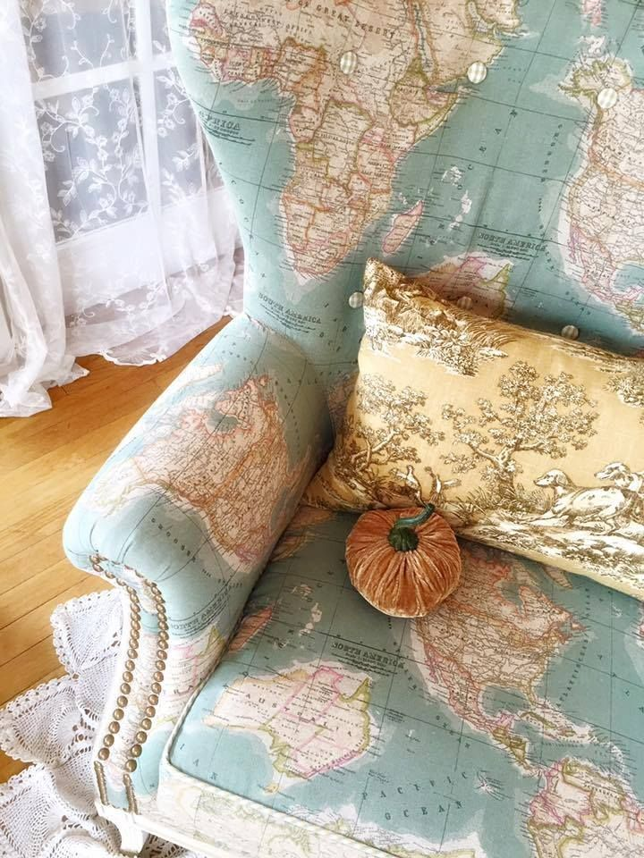 The Annie Sloan Vintage World Map Fabric adds a stylish look to a wingback chair. The beautiful project is by Old Town Warrengton, VA Stockist The Empty Nest.