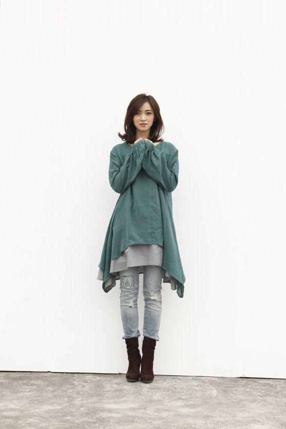 Etnico Lagenlook Abito manica lunga sciolto montaggio camicia cappotto vestito in abito di cotone verde - NC220 on Etsy, 73,93€
