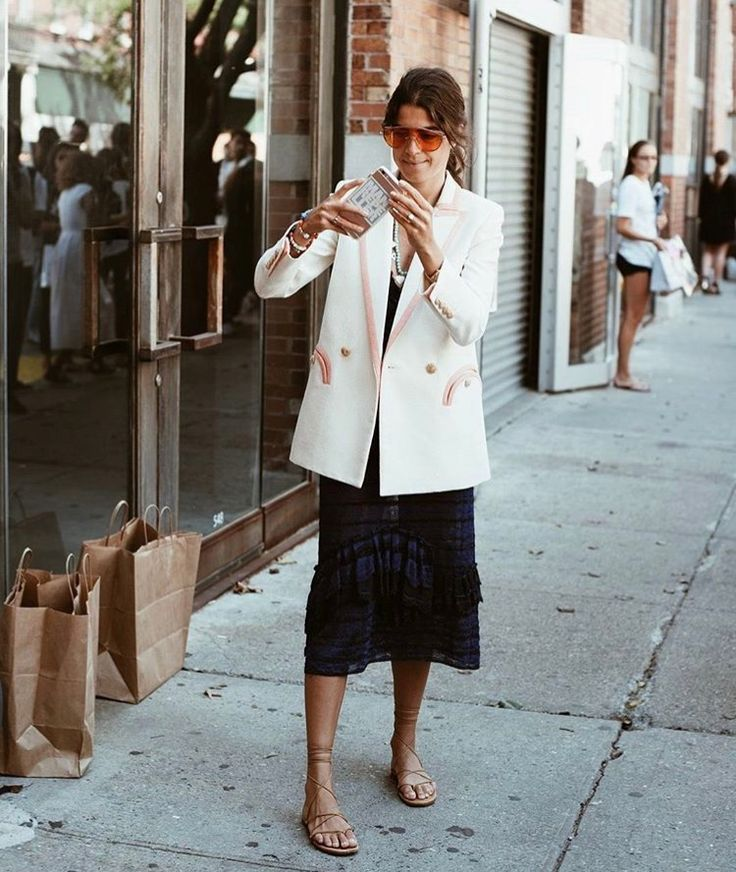 White Blazer x midi Dress x strappy sandals