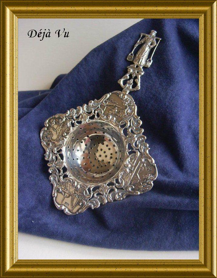 Antique Dutch silver tea strainer, sold. www.dejavu.marktplaza.nl