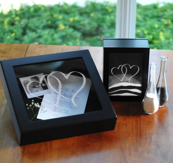 Black Two Hearts Wedding Shadow Box Set