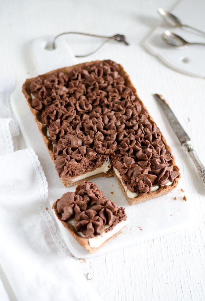Coconut and Vanilla: Chocolate and mascarpone tart