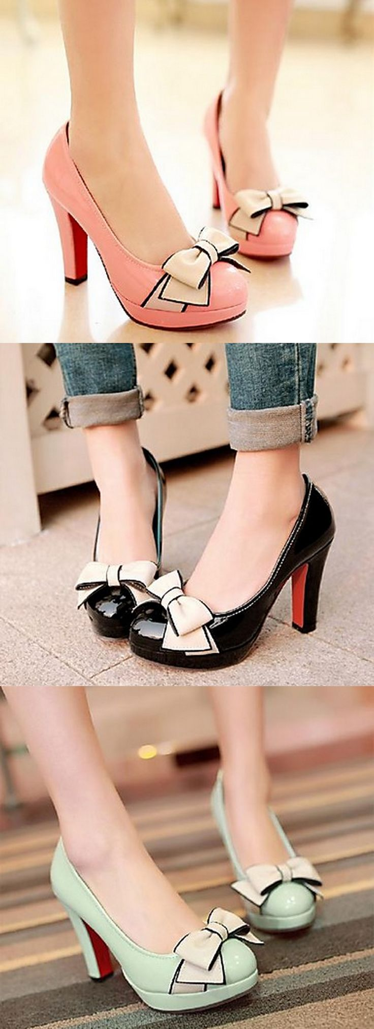 Round Toe Stiletto Heels with Bowknot