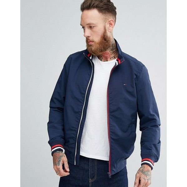 Tommy Hilfiger Stripe Edge Bomber (€99) ❤ liked on Polyvore featuring men's fashion, men's clothing, men's outerwear, men's jackets, navy, tommy hilfiger mens jackets, men's stand collar jacket, mens navy bomber jacket, mens bomber jacket and mens navy blue bomber jacket