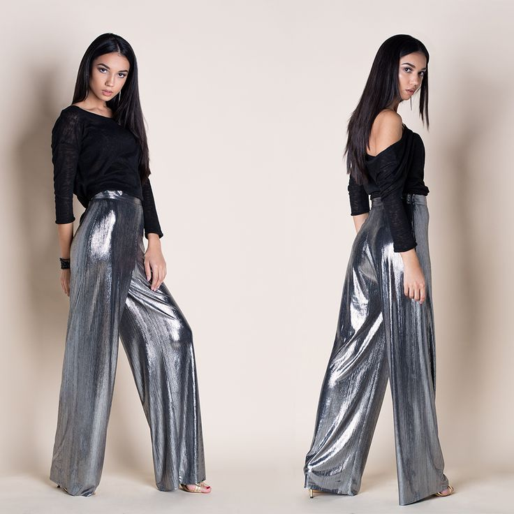 COSMIC SILVER WIDE-LEG PANTS  --- Add a little stardust to your step with the Cosmic Silver Wide-leg Pants! Everyone will do a double take when you walk by. Sleek metallic woven fabric constructs a wide-leg pants that fall from a high, fitted waist. Hidden side zipper // Smooth fabric Tailored High waistband // Side zipper closure // Wide-leg // Regular fit - true to size