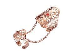 Anello doppio falange con catenelle in acciaio rosato Marlu