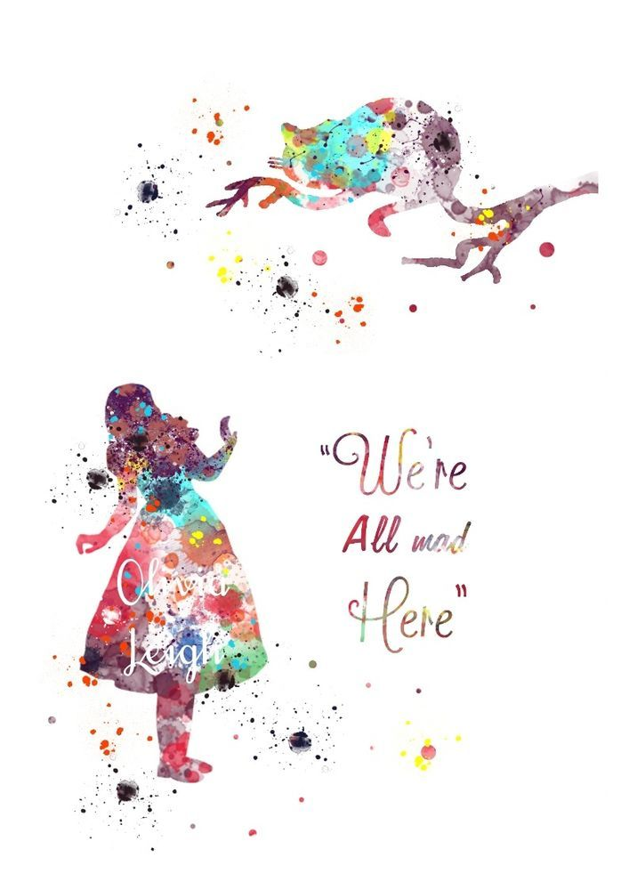 ALICE IN WONDERLAND Art Print Wall Watercolour Canvas Gift 3 Sizes