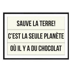 Affiche encadrée Chocolat  Beige et noir  70 x 1,6 x 50 cm