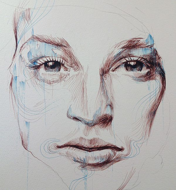 Portraits in Ink and Tea, London Art Fair 2015 by Carne Griffiths