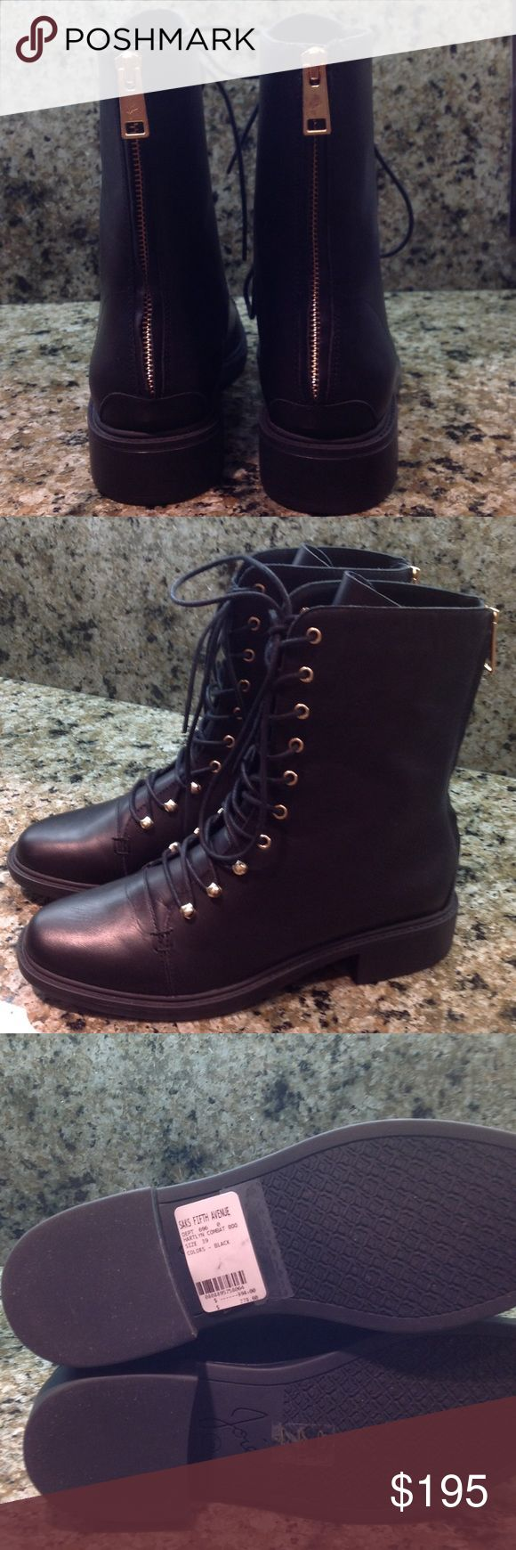 Adorable BLACK WITH GOLD TRIM combat boots NWT Adorable Black combat boots with gold lace hooks and rear zipper by JOIE 🌹Comes with sleeper bag also Joie Shoes Combat & Moto Boots