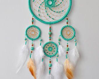 Turquoise Dream Catcher - Boho Dreamcatcher - Aquamarine Wall Hanging - Boho Chic Wedding Decor - Bohemian Hippie Nursery Baby Shower